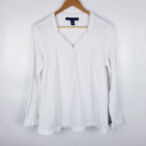Bandolino Medium White Raw Hem V neck Top